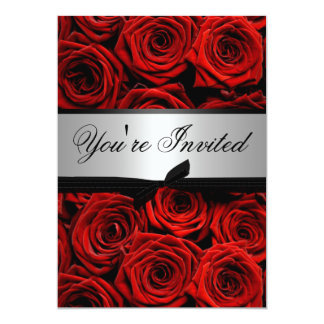 """Rosas rojos que casan invitaciones de encargo invitación 5"""" x 7"""""""