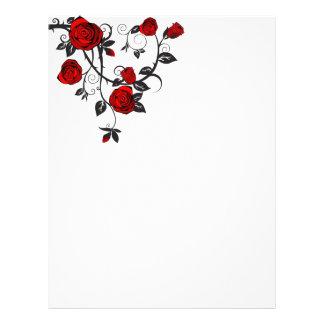 Rosas rojos que enrollan la vid plantillas de membrete