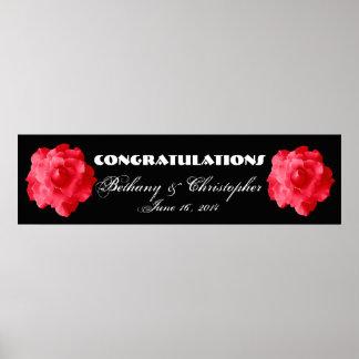 Rosas rojos que se casan o bandera V2 del compromi Póster