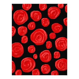 Rosas rojos románticos en fondo negro plantillas de membrete