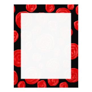 Rosas rojos románticos en fondo negro Personaliza Membretes Personalizados