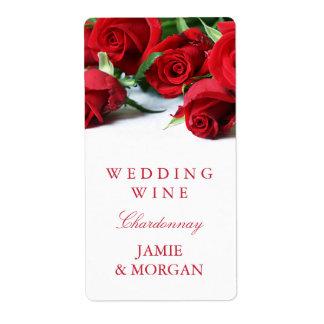 Rosas rojos románticos que casan la etiqueta del etiquetas de envío
