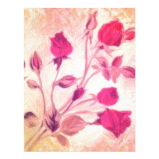 Rosas rojos sedosos membrete