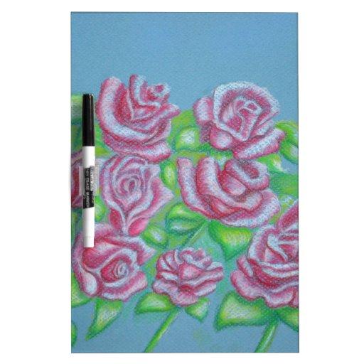 rosas rojos tablero blanco