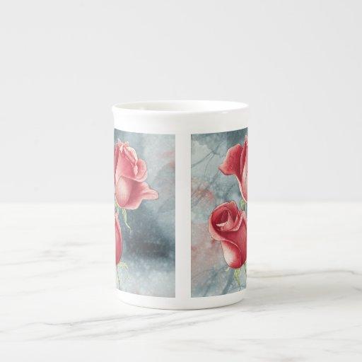Rosas rojos tazas de porcelana