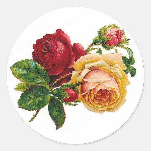 Rosas rojos y amarillos etiqueta redonda