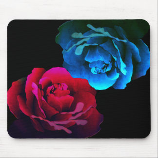 Rosas rojos y azules mouse pads