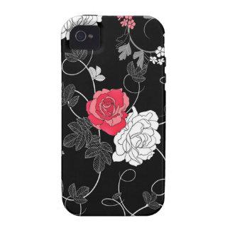 Rosas rojos y blancos adornados elegantes iPhone 4 funda