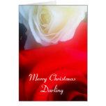 Rosas rojos y blancos de la tarjeta de Navidad rom