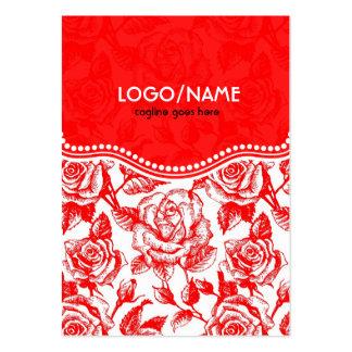 Rosas rojos y blancos del vintage tarjetas de visita grandes