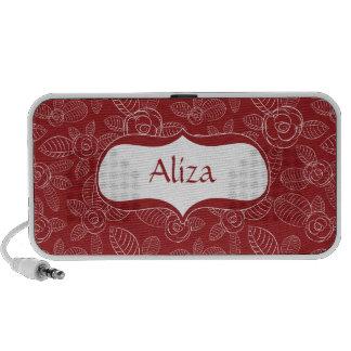 Rosas rojos y blancos elegantes notebook altavoces