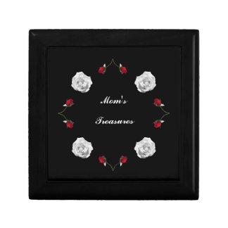 Rosas rojos y blancos para la mamá caja de regalo cuadrada pequeña