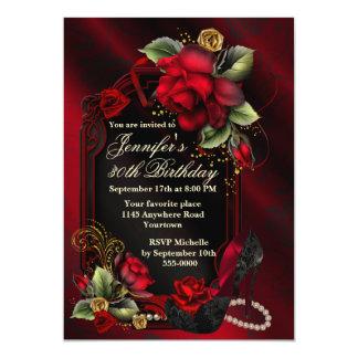 """Rosas rojos y cumpleaños negro del adulto del invitación 5"""" x 7"""""""