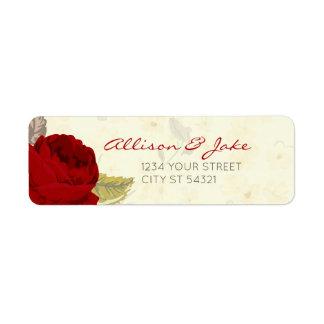 Rosas rojos y de marfil que casan etiquetas de etiqueta de remitente