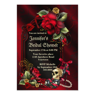 """Rosas rojos y ducha nupcial gótica del cráneo invitación 5"""" x 7"""""""