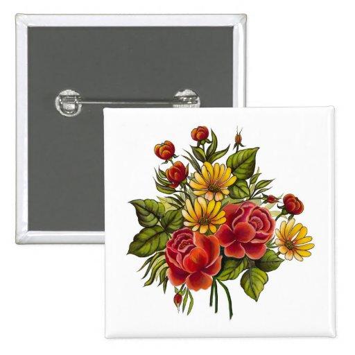 Rosas rojos y flores pintados a mano