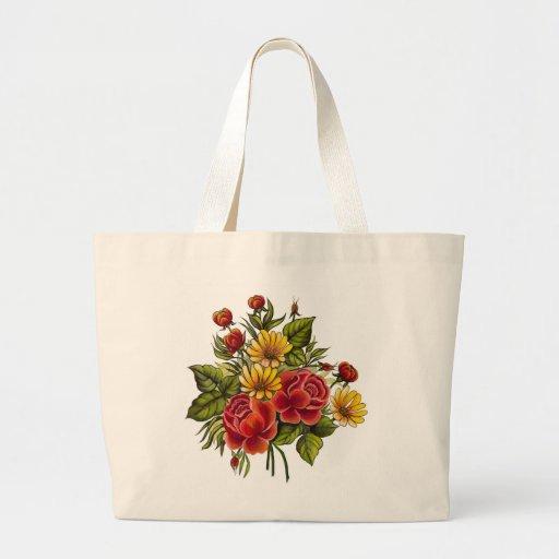 Rosas rojos y flores pintados a mano bolsa tela grande
