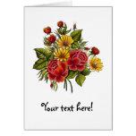 Rosas rojos y flores pintados a mano felicitación