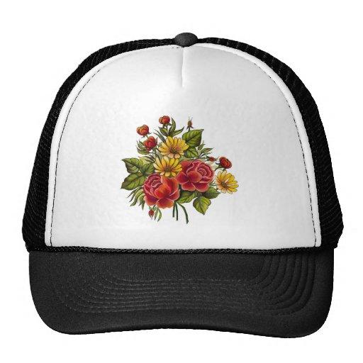 Rosas rojos y flores pintados a mano gorras de camionero