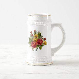 Rosas rojos y flores pintados a mano jarra de cerveza
