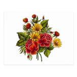 Rosas rojos y flores pintados a mano postal