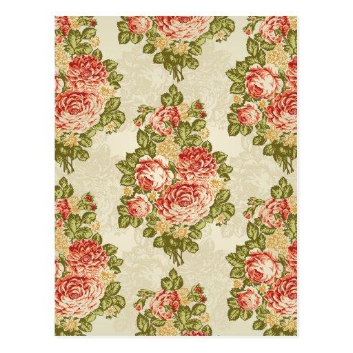 Rosas rojos y hojas verdes tarjeta postal