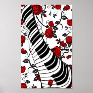 ¡Rosas rojos y llaves del piano, cogida del ojo! Póster