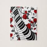 ¡Rosas rojos y llaves del piano, cogida del ojo! Rompecabeza