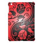 Rosas rojos y negros de Yin Yang iPad Mini Fundas