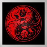 Rosas rojos y negros de Yin Yang Poster