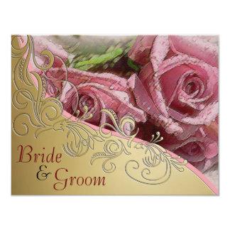 """Rosas rojos y oro - el casarse echado a un lado 2 invitación 4.25"""" x 5.5"""""""