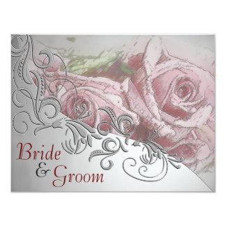 """Rosas rojos y plata - el casarse echado a un lado invitación 4.25"""" x 5.5"""""""