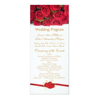 """Rosas rojos y programa del boda del corazón invitación 4"""" x 9.25"""""""