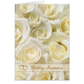 Rosas románticos de la blanco-crema que casan la tarjeta de felicitación