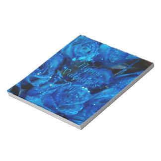 Rosas románticos del azul del amor del el día de bloc de papel
