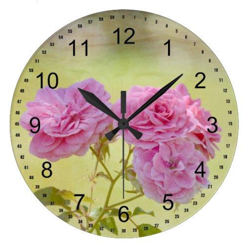 Rosas románticos del jardín reloj de pared