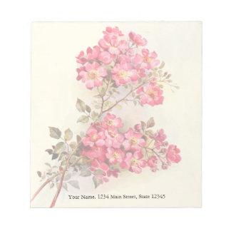 Rosas románticos del rosa del vintage bloc