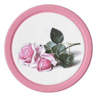 Rosas románticos del rosa del vintage fichas de póquer