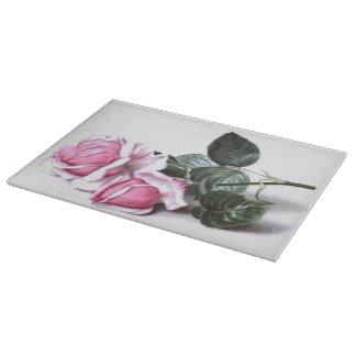 Rosas románticos del rosa del vintage tabla para cortar