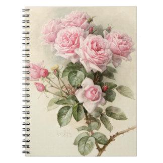 Rosas románticos del Victorian del vintage Libreta Espiral