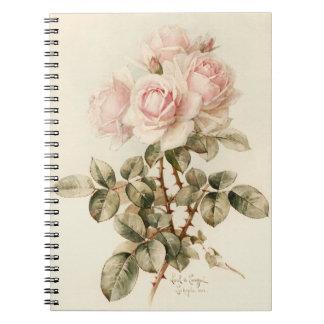 Rosas románticos del Victorian del vintage Libro De Apuntes Con Espiral