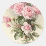 Rosas románticos del Victorian del vintage Pegatina Redonda