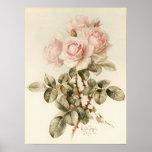 Rosas románticos del Victorian del vintage Póster