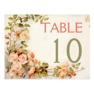 Rosas románticos del vintage que casan número de tarjeta postal