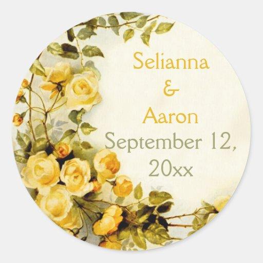 Rosas románticos del vintage que casan reserva la etiqueta redonda