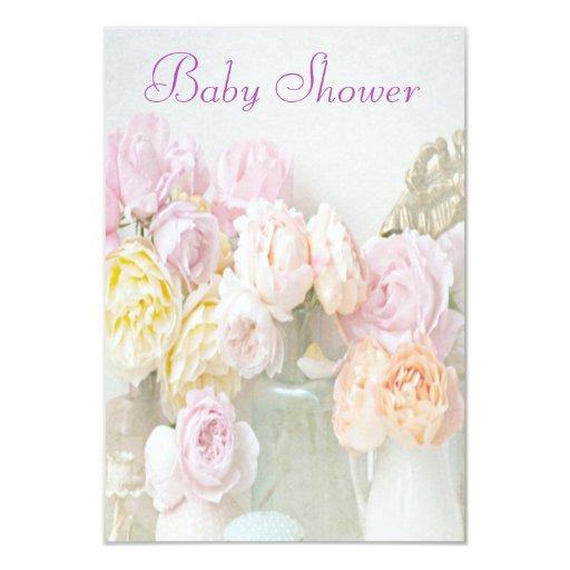 """Rosas románticos en fiesta de bienvenida al bebé invitación 3.5"""" x 5"""""""