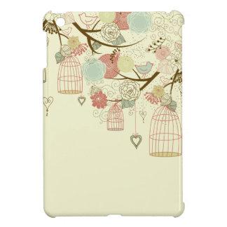 Rosas románticos, pájaros, birdcages, vintage flor iPad mini protector