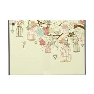 Rosas románticos, pájaros, birdcages, vintage flor iPad mini protectores