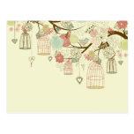 Rosas románticos, pájaros, birdcages, vintage flor postal