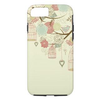 Rosas románticos, pájaros, birdcages, vintage funda iPhone 7